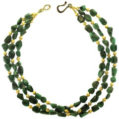 Gemjunky Three-Strand Emerald Nugget Necklace with Goldy Accents