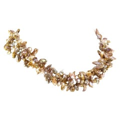 Gemjunky Three-Strand, Freeform Goldy-Gray Pearl Necklace