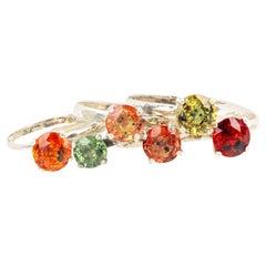 Gemjunky Tiffany Style Petite Stackable Songea Multi Sapphires Silver Rings