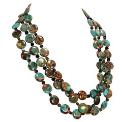 Gemjunky Triple Strand Desert Jasper and Smoky Quartz Necklace