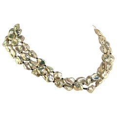 Triple-Strand Gorgeous, Luscious Silver Pearl Necklace June Birthstone