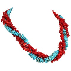 Gemjunky Triple Strand Necklace of Southwest Style Red Coral and Hubei Turquoise