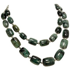 Gemjunky Two Strand  Emerald Matrix Necklace with Silver Accents  May Birthstone