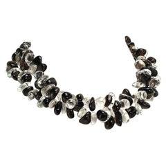 Gemjunky Two Strand Necklace of Tumbled Polished Quartz Crystal & Smoky Quartz