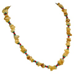 Gemjunky Unique Highly Polished Australian Yellow Opal Pebble Necklace