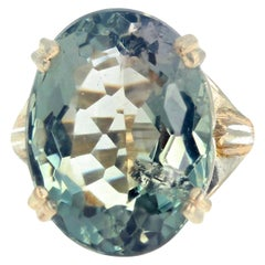 Gemjunky Unusually Large Solitaire Oval Stunning Fluorite Gemstone Silver Ring