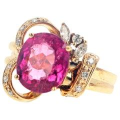Gemjunky Vintage Style Stunning 3.7 Ct. Rubelite Tourmaline & Diamond Gold Ring