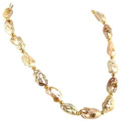 Gemjunky White Baroque Pearl Necklace