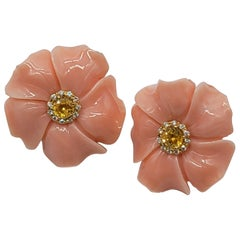 Gemlok 18 Karat Yellow Gold Carved Coral, Yellow Sapphire and Diamond Earrings