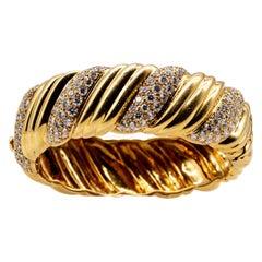 Gemlok 18 Karat Yellow Gold Diamond Barberpole Bangle Bracelet