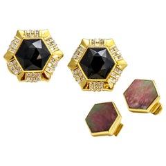 Gemlok 18K Gold Black Onyx Mother of Pearl Exchangeable Gemstone Stud Earrings