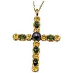 Gemlok 18K Gold Cabochon Green Tourmaline & Yellow Sapphire Cross w Black Pearl