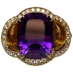 18 Karat Oval Amethyst and Cabochon Citrine and Diamond Ring