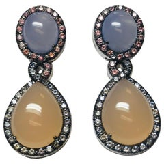 18 Karat Pink and Blue Chalcedony and Pink and Blue Sapphire Earrings