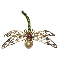 18 Karat Pink & Yellow gold Dragonfly with Multicolored Sapphires & Tourmalines