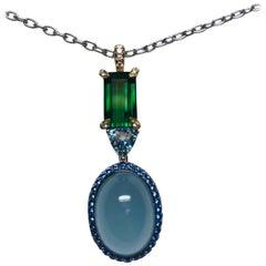 18 Karat White Gold Aquamarine, Sapphire and Green Tourmaline Pendant