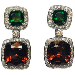 18 Karat White Gold Green Tourmaline, Malayan Garnet and Diamond Dangle Earrings
