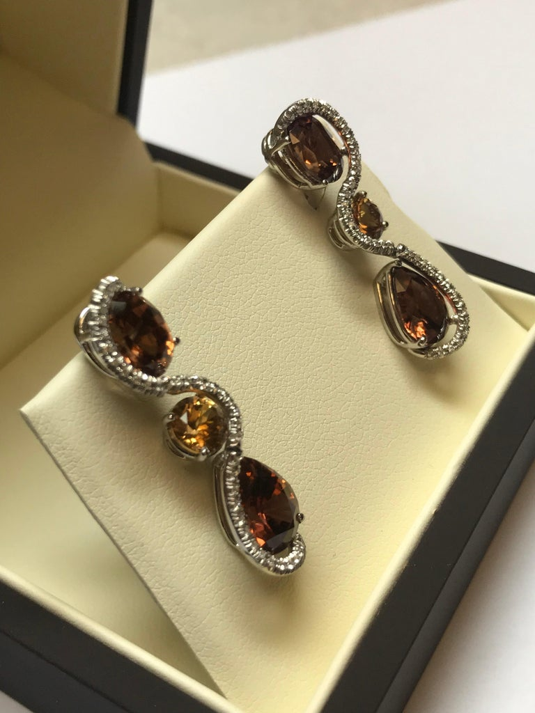 Modern 18 Karat White Gold Tanzanian Zircon and Diamond Earrings For Sale