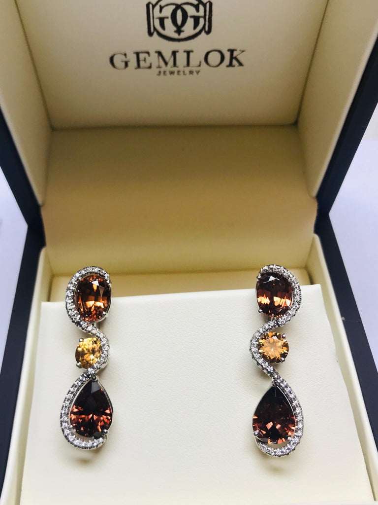 Women's or Men's 18 Karat White Gold Tanzanian Zircon and Diamond Earrings For Sale