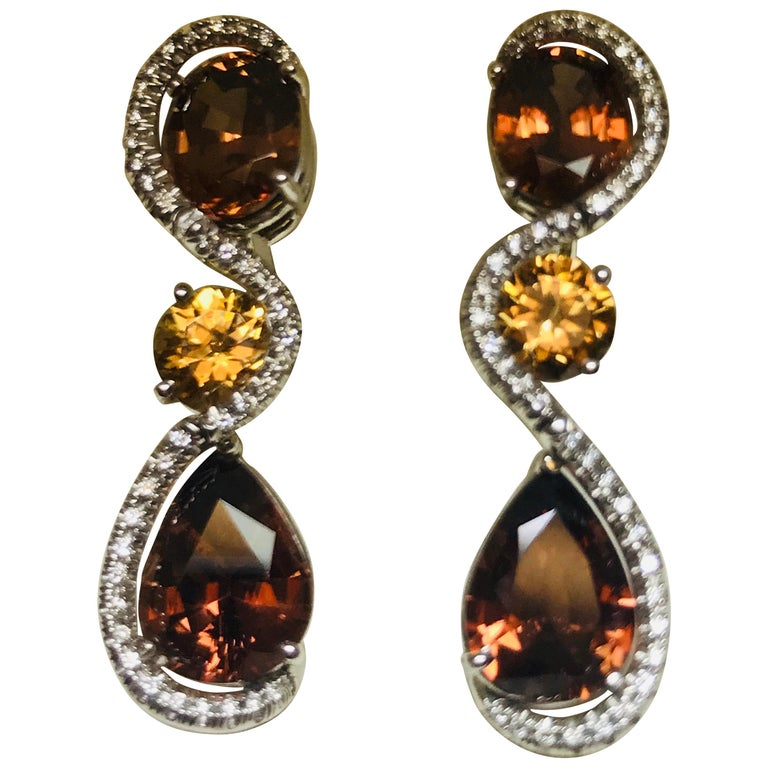 18 Karat White Gold Tanzanian Zircon and Diamond Earrings For Sale