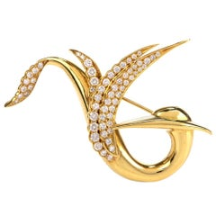 Gemlok Diamond 18 Karat Yellow Gold Abstract Bird Brooch Pin