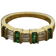 Gemlok Diamond Emerald Gold Band Ring