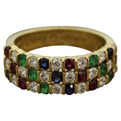 Gemlok Diamond Ruby Emerald Sapphire Gold Ring Band