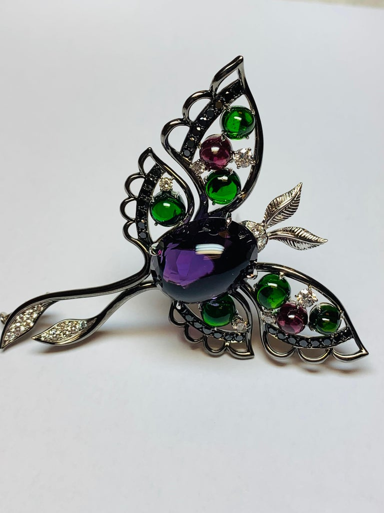 Modern Oxidized White Gold Multicolored Gemstone Butterfly Brooch For Sale