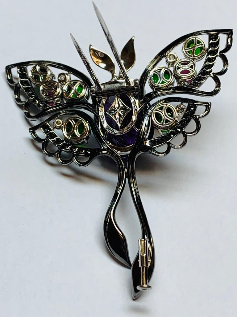 Women's or Men's Oxidized White Gold Multicolored Gemstone Butterfly Brooch For Sale