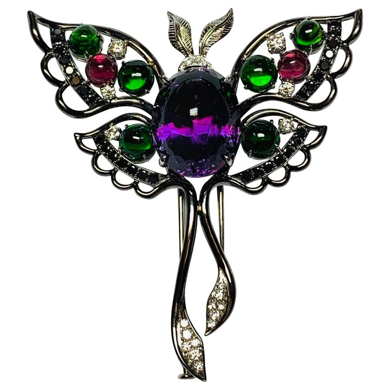 Oxidized White Gold Multicolored Gemstone Butterfly Brooch For Sale
