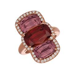 Gemlok Rose Gold Rare Garnet and Diamond Gemstone Ring