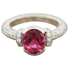Gemlok Rubellite Tourmaline Diamond Platinum Ring