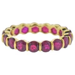 Gemlok Ruby Gold Eternity Wedding Band Ring