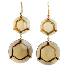 Gemma 18 Karat Yellow Gold Cognac Citrine Dangle Earrings