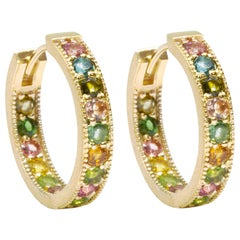 Gemma Multi Tourmaline Gold 18 Karat Hoop Earrings