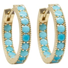Gemma Turquoise Gold 18 Karat Hoop Earrings