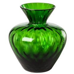 Gemme Short Glass Vase in Grass Green by Venini