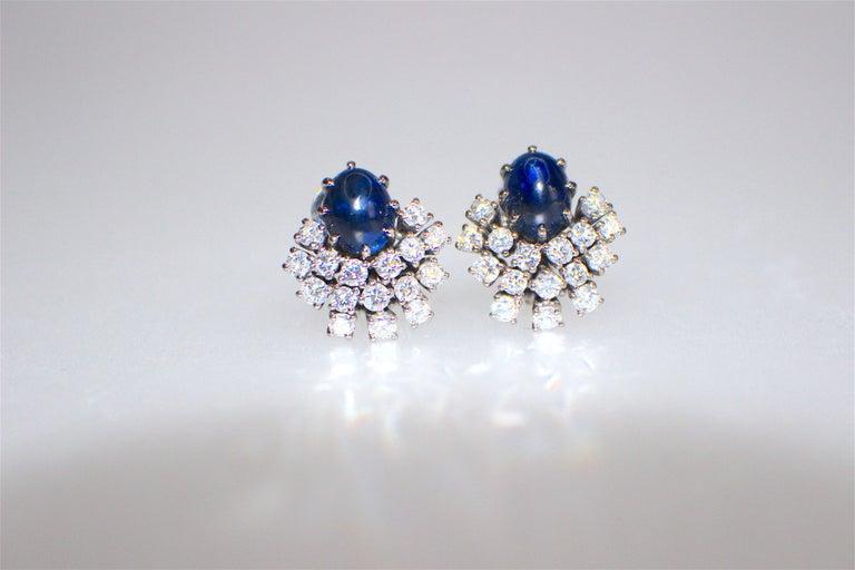 GEMOLITHOS a pair of cabochon sapphire & diamond earrings, 1960´s