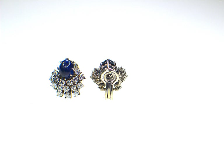 Round Cut Gemolithos 18 Karat White Gold Sapphire and Diamond Clip-On Earrings For Sale