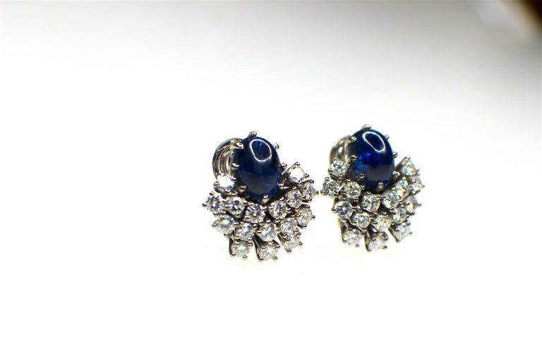 Gemolithos 18 Karat White Gold Sapphire and Diamond Clip-On Earrings In Good Condition For Sale In Munich, DE