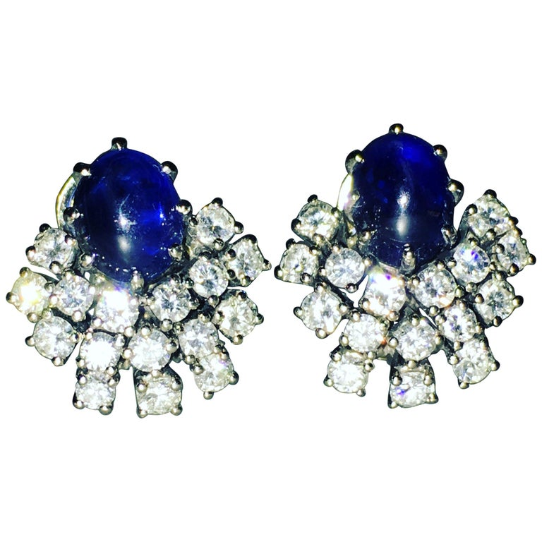 Gemolithos 18 Karat White Gold Sapphire and Diamond Clip-On Earrings For Sale