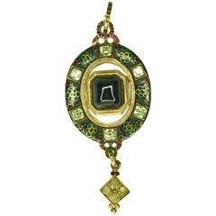 Gemolithos 18 Karat Gold Holbeinesque Garnet Chrysoberyl Enamel Pendant