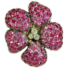 Gemolithos 18 Karat Gold Ruby Pink Sapphire and Diamond Brooch or Pendant