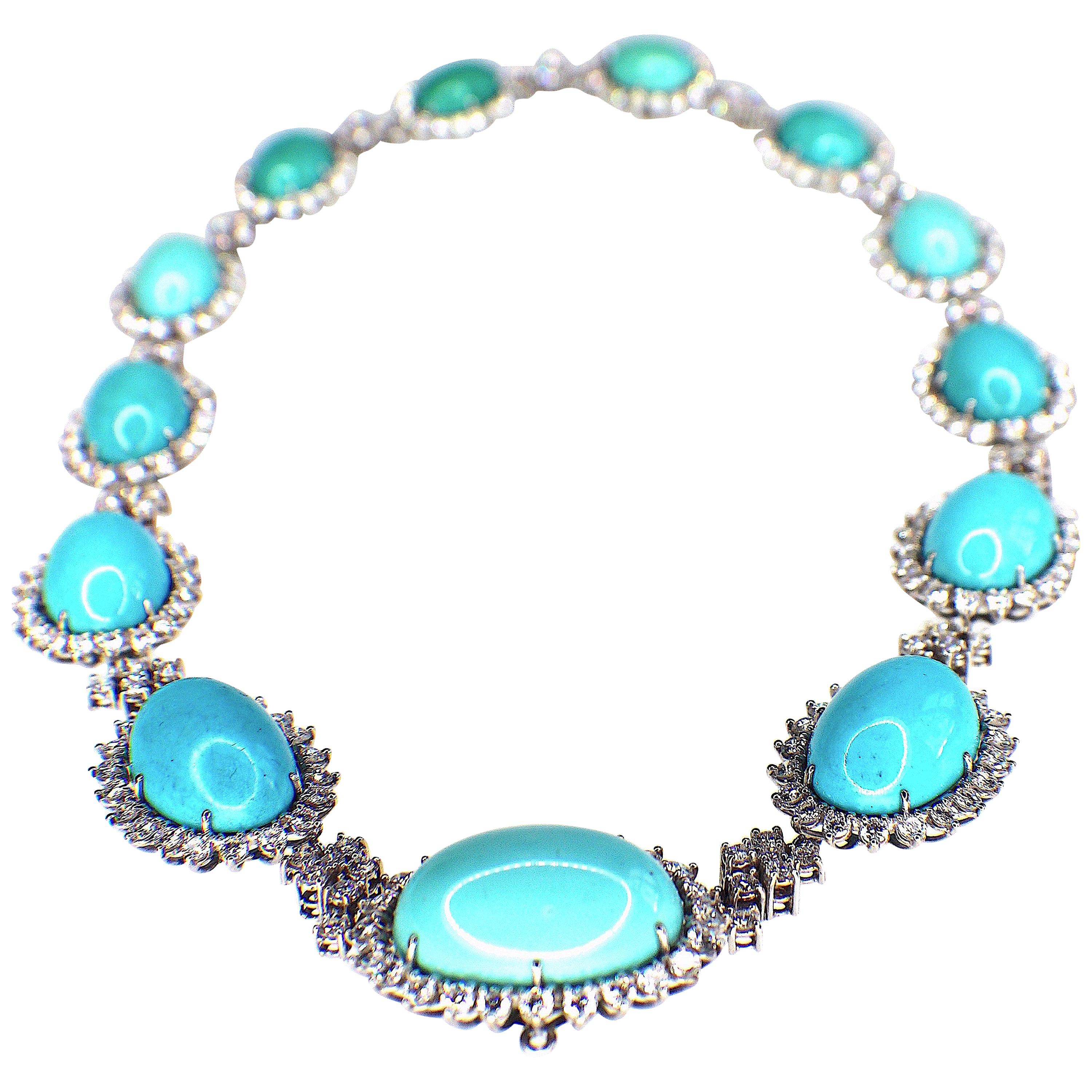 """Gemolithos a """"Koch"""" Signed Platinum Turquoise and Diamond Necklace"""