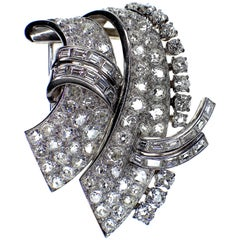Van Cleef & Arpels Signed Diamond Double Clip Brooch, 1940s