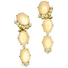 Gemolithos Angel Skin Coral and Diamond Earrings in 18 Karat Gold