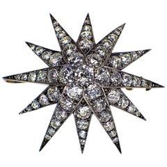 Gemolithos Antique Diamond Star Pendant, 1880s, with Nice Bright Diamonds