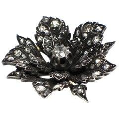 Gemolithos Antique Flower Diamond Brooch, 19th Century