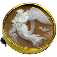 Gemolithos Antique Shell Cameo Gold Brooch-locket, circa 1870s