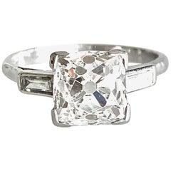 Gemolithos, Art Deco, Old Mine Solitair Ring 3.03 Carat J/Si, Platinum